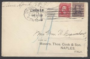 US 1911 Philadelphia to Thomas Cook in London, fwd to Naples, Italy