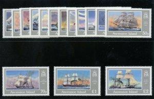 Ascension 1976 QEII Ships set complete superb MNH. SG 409-423. Sc 401-415.