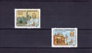 Dominican Rep.,Pope John Paul II, set (2) Perforated mnh.vf