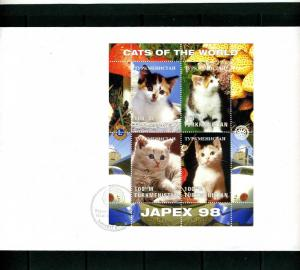 Turkmenistan 1997 CATS Lions-Rotary Japex'1998 Sheet Perforated in official FDC