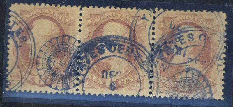 186 Used Strip of 3 with Yates WHeel of Fortune Cancels Est$125