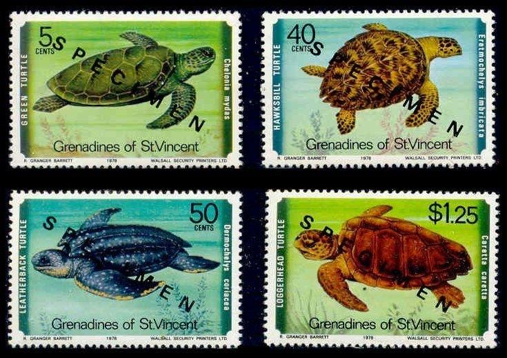 St. Vincent Grenadines 1978 Turtles w/ SPECIMEN Ovpt (Scott # 157-160)