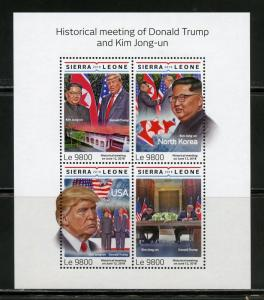 SIERRA LEONE 2018 MEETING OF DONALD  TRUMP & KIM JONG-UN SHEET MINT NEVER HINGED