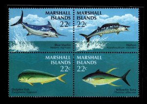 Marshall Islands Scott 124-127a MNH** Game Fish block