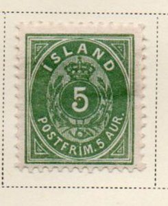 Iceland Sc 24 1896 5 aur green arms stamp mint