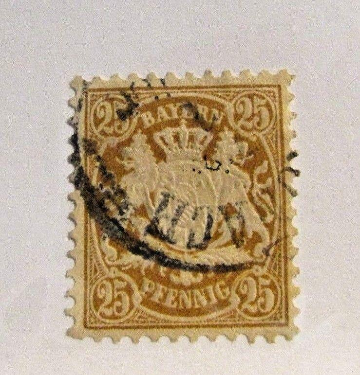 BAVARIA Sc #43 Θ used, fine postage stamp, coat of arms