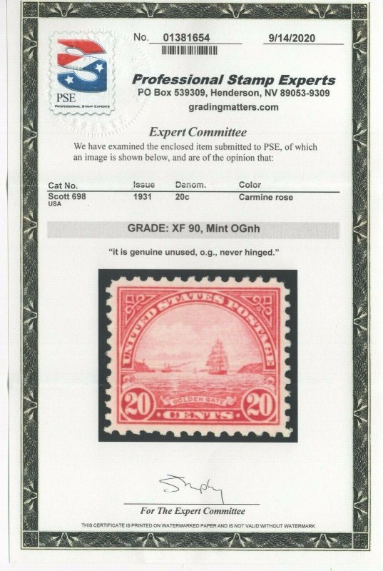 #698 Graded XF 90 Mint OG NH w/PSE Cert.  (JH 9/27) GP