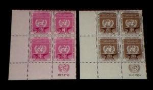 U.N. 1954, NEW YORK #25- #26, INTL. LABOR ORG., MNH, INSC. BLKS/4, NICE!