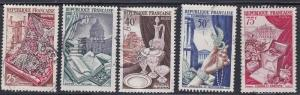 France # 711-715, Tapestry & other Industries, Used Set