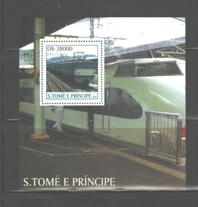 S TOME E PRINCIPE 2003 TRAINS M.S.. #1566  MNH
