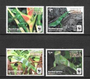 TONGA MNH SET SC#1290-1293 WWF LIZARDS SCV$7.50