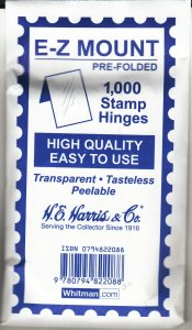 10 UNOPENED PACKS OF H. E. HARRIS E-Z MOUNT STAMP HINGES LOWEST PRICE ON EBAY