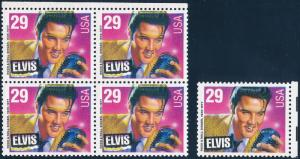 #2721 VAR. ELVIS TOP BLOCK OF 4 MAJOR COLOR SHIFT ERROR HV4990