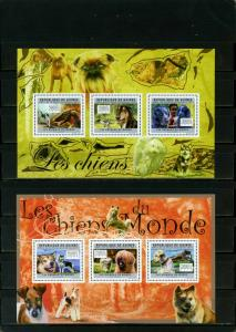 GUINEA 2011 DOGS 2 SHEETS OF 3 STAMPS MNH