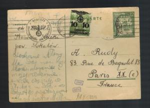1940 Germany Kosow Ghetto postcard Cover Paris France Abraham Rudy Chana Cegiel