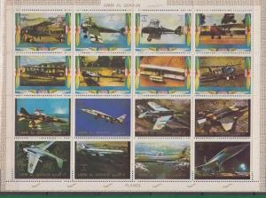 Umm Al Qiwain MNH S/S Airplanes Aviation 16 Stamps Large Size