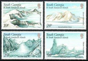 South Georgia 135-138, MNH. Glacier Formations, 1989