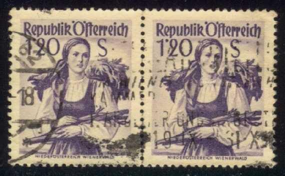 Austria #540 Vienna Woods Costume, used pair (0.50)
