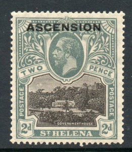 Ascension 1922 o/p on St Helena KGV 2d SG 4 mint