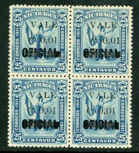 Nicaragua 1914 Liberty Overprint 1¢/25¢ MNH Block H344