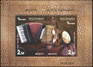 Bosnia and Herzegovina. 2014. Musical Instruments (MNH OG) Souvenir Sheet