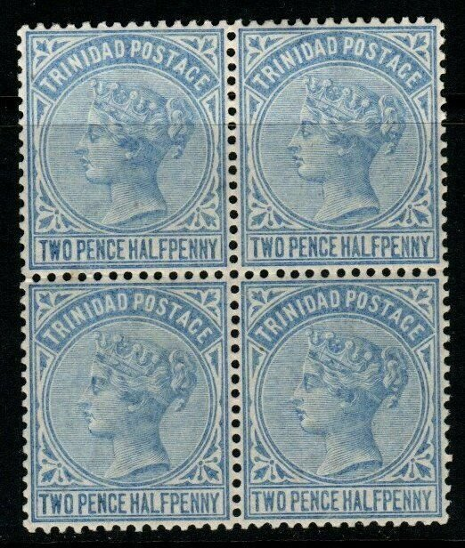 TRINIDAD SG108 1883 2½d BRIGHT BLUE BLOCK OF 4 MTD MINT(2xMNH)