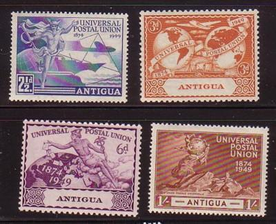 Antigua Sc 100-3 1949 75th Anniv UPU stamp set mint