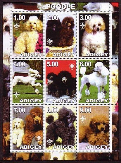 Adijey, 2000 Russian Local. Poodle, Dog sheet of 9.  Scout Logo.