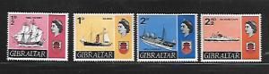 GIBRALTAR, 186-189, MINT HINGED, SHIPS