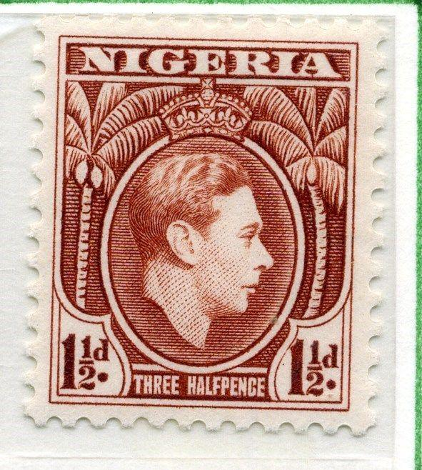 NIGERIA;  1938 early GVI issue fine Mint hinged 1.5d. value