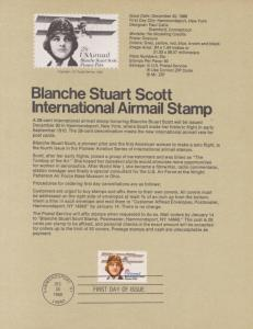 REDUCED!! 1980 BLANCHE STEWART SCOTT  AIRMAIL FDC SOUVENIR PAGE