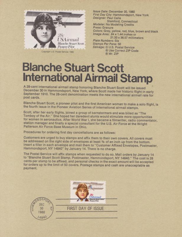 REDUCED!! 1980 BLANCHE STEWART SCOTT  AIRMAIL FDC SOUVENIR PAGE