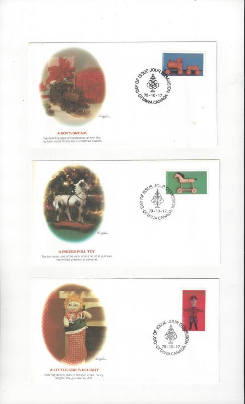 Canada 839-41 FDC Christmas Fleetwood Cachet on 3 Covers