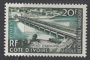 French West Africa, Scott #77; 20fr Abidjan Bridge, MH