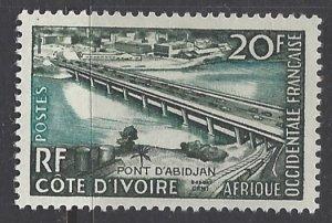 French West Africa, Scott #77; 20fr Abidjan Bridge, MH