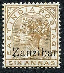 Zanzibar SG13 6a Pale Brown Small second Z M/M