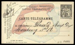 fr023 France Service Telegraphique Carte-Telegramme Paris map used