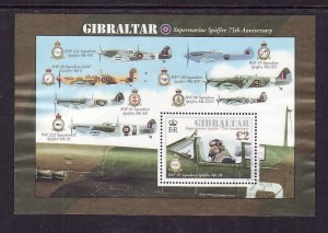 Gibraltar-Sc#1300-used  sheet-Planes-WWII-Aircraft-Spitfires-2011-