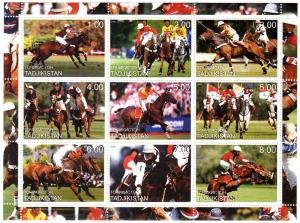 Tajikistan 2000 Horse Jumping & Polo Sheet Perforated Mint (NH)