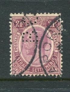 Straits Settlements #160 BC Perfin Used