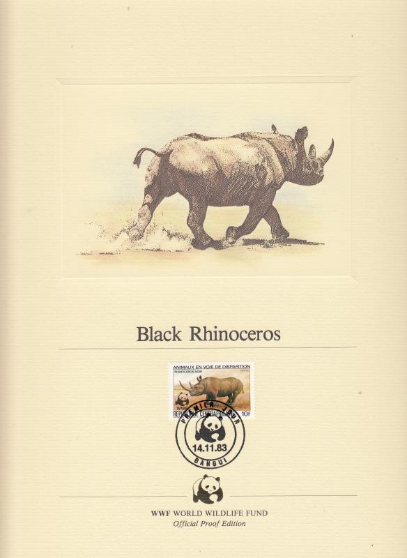 Central African Republic - Black Rhinoceros, FDC - (1588)