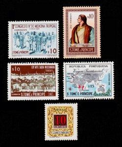ST. THOMAS & PRINCE ISLANDS SCOTT #356, #357, #363, #367, #J52 MH/MNH-OG