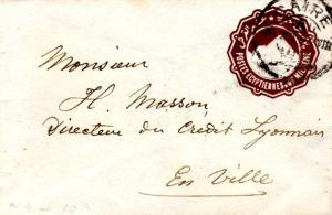 Egypt 1m Sphinx and Pyramid Envelope 1890 Caire A Local use.