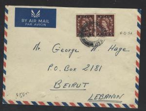 KUWAIT  (P2601BB)  1956  QEII 2A/2D GB PR ON A/M COVER TO LEBANON