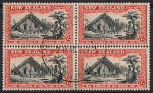 NEW ZEALAND 1940 centenary 7d fine used block of 4........................79240