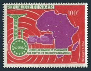 Niger C75,MNH.Michel 169. African Postal Union,UAMPT-1967.Telecommunications,Map