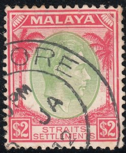 Singapore 1948 KGVI $2 Green & Scarlet Perf 14 VFU
