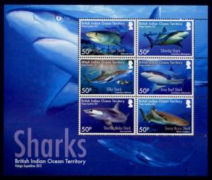 British Indian Ocean Territory Sc# 453 MNH Sharks (M/S of 6)