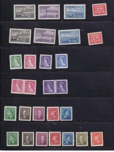 CANADA COLLECTION OF COILS SETS KGV1 QE11 BOB ISSUES ON 14 STOCK SHEETS