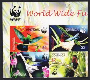 Dominica Birds WWF Caribs Imperf Top Left Block of 4 with WWF Logo SG#3412-3415